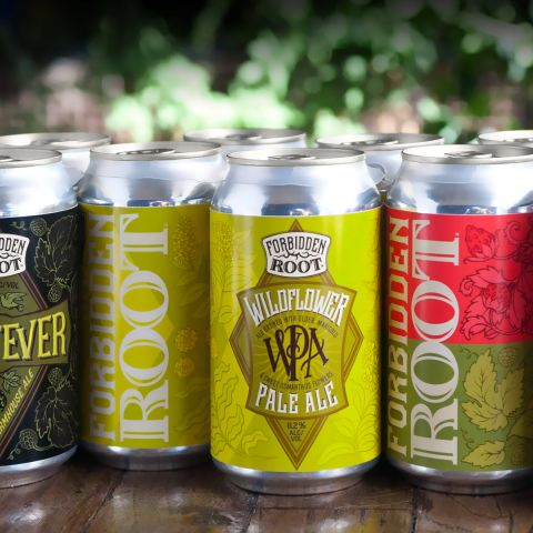 Hay Fever, Wildflower Pale Ale, Strawberry Basil Hefeweizen in cans