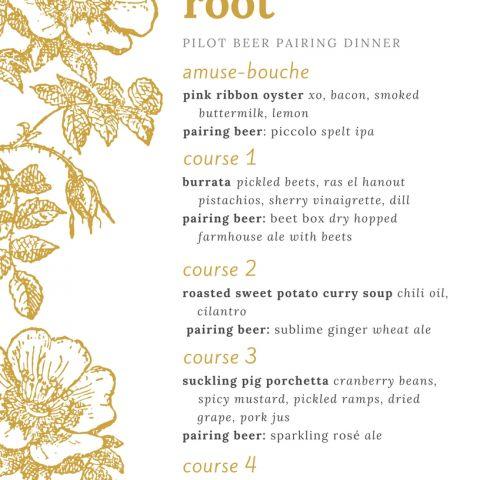 forbidden root beer pairing menu