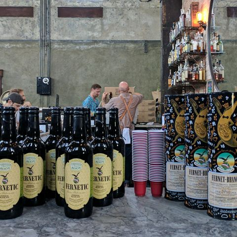 Fernetic bombers alongside bottles of Fernet-Branca in their 170th anniversary package